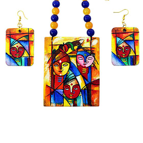 Hand Painted Goddess Necklace & Earring Jewellery Sets2