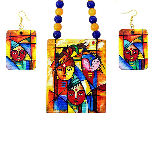 Hand Painted Goddess Necklace &Amp; Earring Jewellery Sets2