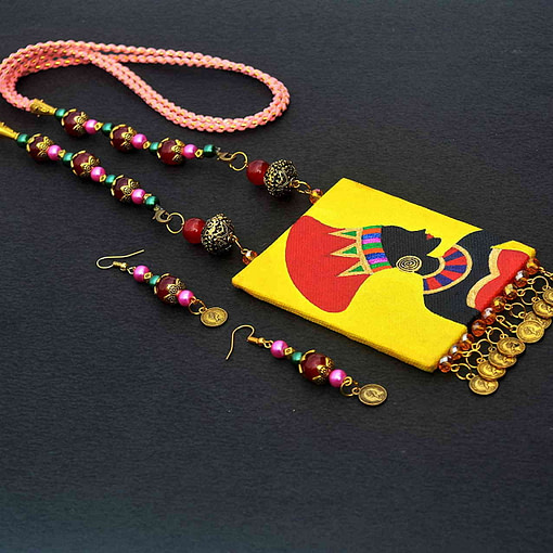 Hand Painted African Tribal Latest Design Earring &Amp; Jewellery Set1