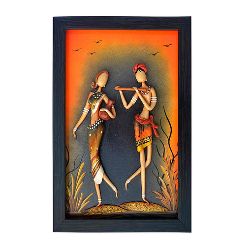 Synthetic Clay Radha Krishna Couple Figure Art Of Bengal For Home Decoration (12 Inch × 8 Inch)