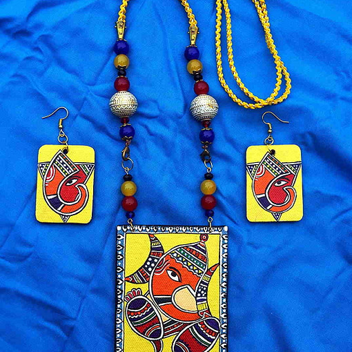 Ganesha On Canvas Necklace And Earring Jewellery Sets6
