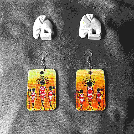 Acrylic Canvas Painting African Tribal Lady Earrings2