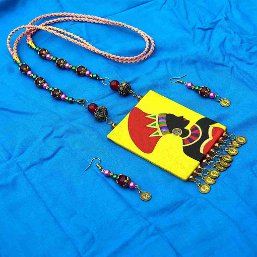 Hand Painted African Tribal Latest Design Earring &Amp; Jewellery Set4