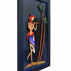 Shri Krishna Figure Art of Bengal for Home Decoration (16 Inch × 9 inch)