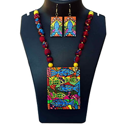 Hand Painted Madhubani Fish On Canvas Necklace Set