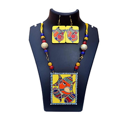Handpainted Ganesh on Canvas Necklace and Earring Jewellery Sets