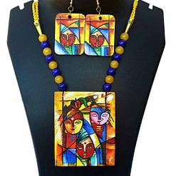 Hand Painted Goddess Necklace & Earring Jewellery Sets