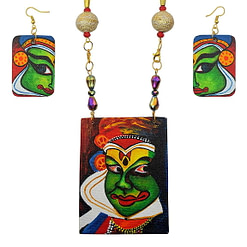 Hand Painted Kathakali Necklace &Earring Jewellery Sets1