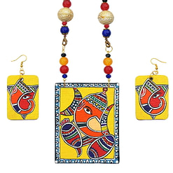 Handpainted Ganesh On Canvas Necklace And Earring Jewellery Sets2