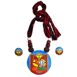 Handcrafted Ganesh Janani Painting Necklace1