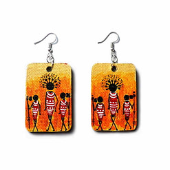 Acrylic Canvas Painting African Tribal Lady Earrings