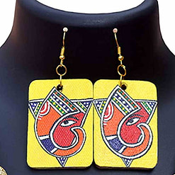 Handpainted Ganesh on Canvas Necklace and Earring