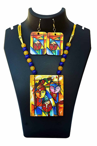 Hand Painted Goddess Necklace &Amp; Earring Jewellery Sets