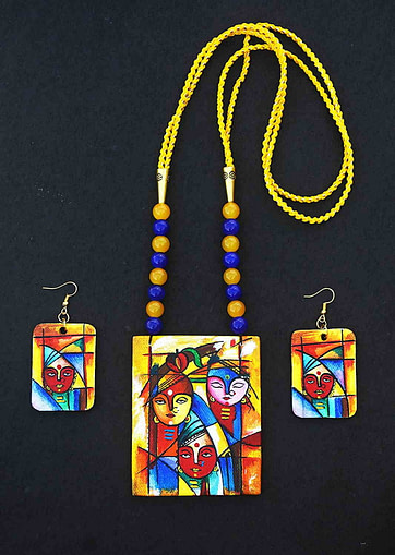Hand Painted Goddess Necklace &Amp; Earring Jewellery Sets5