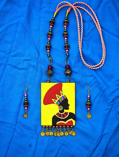 Hand Painted African Tribal Latest Design Earring &Amp; Jewellery Set5