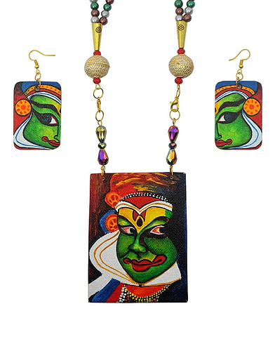 Hand Painted Kathakali Necklace &Amp;Earring Jewellery Sets1