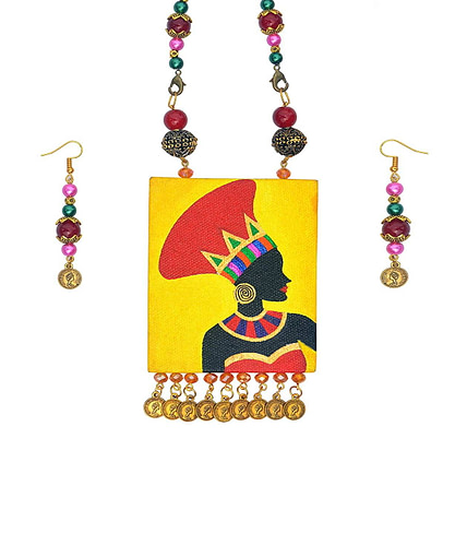 Hand Painted African Tribal Latest Design Earring &Amp; Jewellery Set2