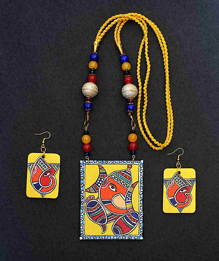 Handpainted Ganesh On Canvas Necklace And Earring Jewellery Sets5