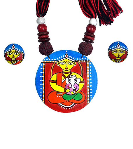 Handcrafted Ganesh Janani Painting Necklace3