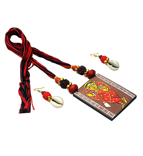Hand Painted Jamini Roy Red Saree Lady Necklace1