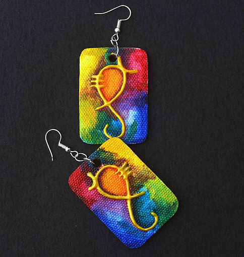 Canvas Ganesha Painting Earring (1 Pair)