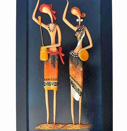 Synthetic Clay Baul Couple Figure Art Of Bengal For Home Decoration (16 Inch × 9 Inch)