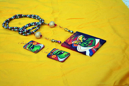 Hand Painted Kathakali Necklace &Amp;Earring Jewellery Sets3