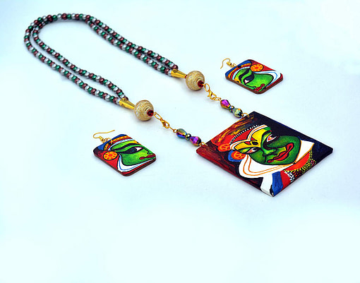 Hand Painted Kathakali Necklace &Amp;Earring Jewellery Sets5