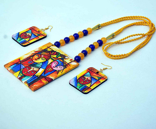 Hand Painted Goddess Necklace &Amp; Earring Jewellery Sets4