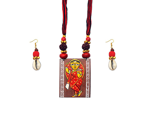 Hand Painted Jamini Roy Red Saree Lady Necklace2