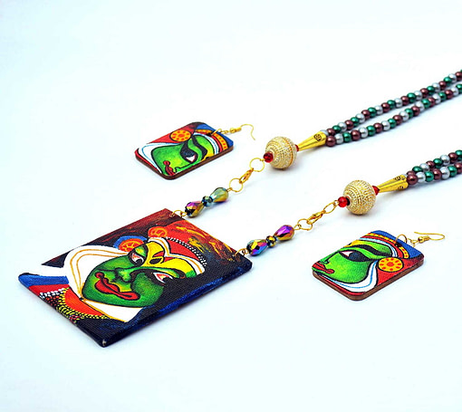 Hand Painted Kathakali Necklace &Amp;Earring Jewellery Sets2