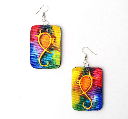 Canvas Ganesha Painting Earring (1 Pair)2