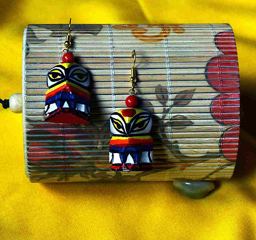 Karukala Handicraft Jewellery For Women Wooden Owl Bamboo Crafted &Amp; Hand Painted Jewellery2