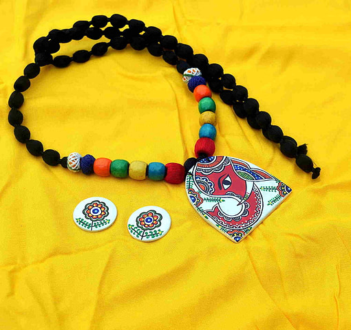 Madhubani Mithila Art Jewelry Elephant Painting Necklace