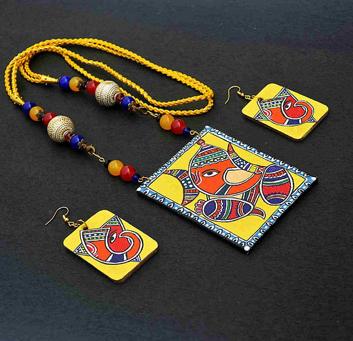 Handpainted Ganesh On Canvas Necklace And Earring Jewellery Sets4