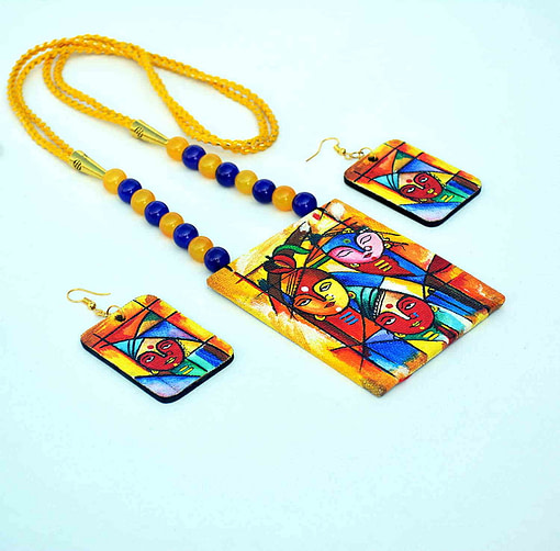 Hand Painted Goddess Necklace &Amp; Earring Jewellery Sets3
