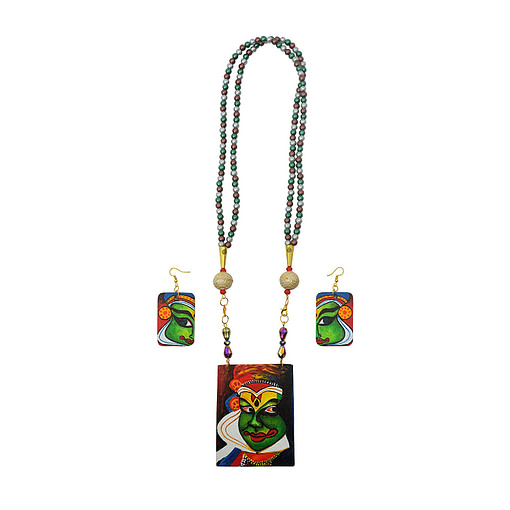 Hand Painted Kathakali Necklace &Amp;Earring Jewellery Sets