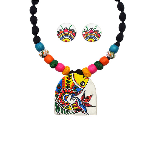 Fabric Madhubani Mithila Art Fish Painting Necklace Set Of 12