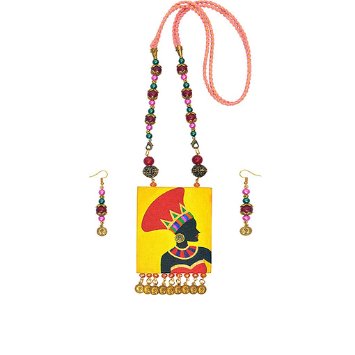 Hand Painted African Tribal Latest Design Earring &Amp; Jewellery Set3