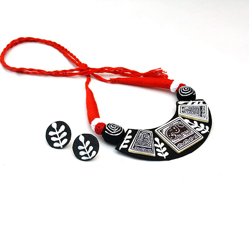 Madhubani Painting Elephant Choker Necklace2