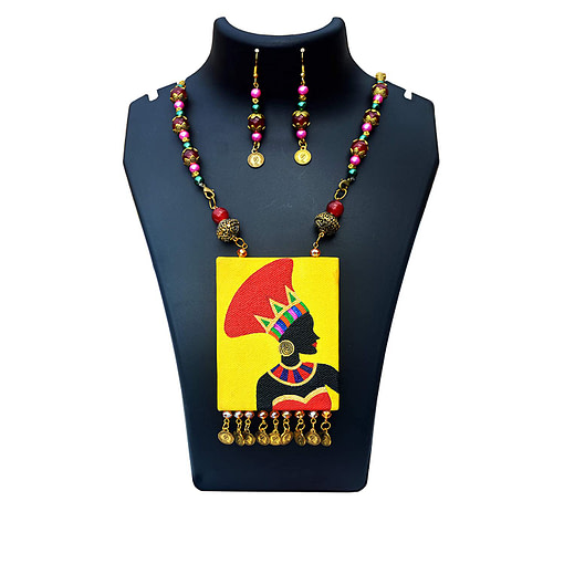 Hand Painted African Tribal Latest Design Earring &Amp; Jewellery Set