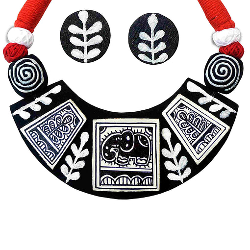 Madhubani Painting Elephant Choker Necklace3