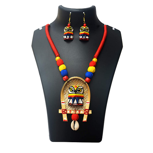 Karukala Handicraft Jewellery For Women Wooden Owl Bamboo Crafted &Amp; Hand Painted Jewellery1