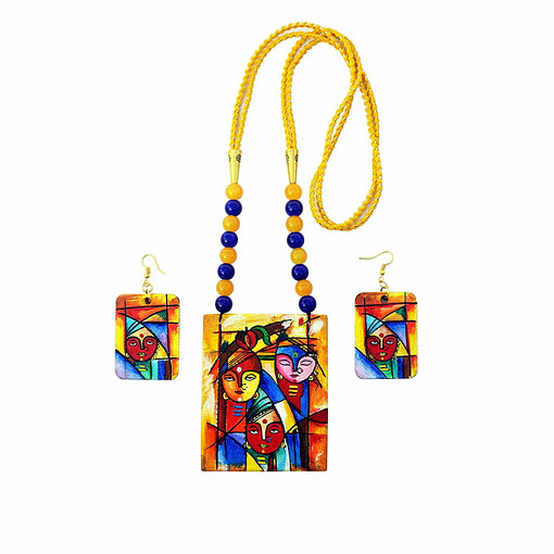 Hand Painted Goddess Necklace &Amp; Earring Jewellery Sets1