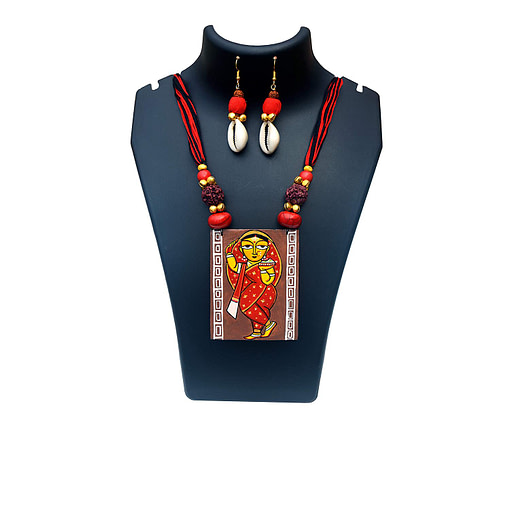 Hand Painted Jamini Roy Red Saree Lady Necklace
