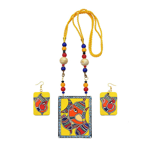 Handpainted Ganesh On Canvas Necklace And Earring Jewellery Sets3