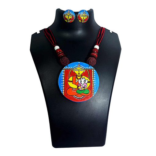 Handcrafted Ganesh Janani Painting Necklace2